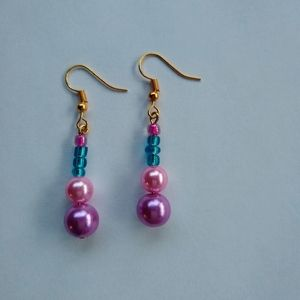 Yellow gold plated glass beaded Earrings